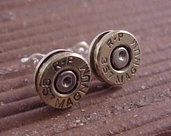 Sterling Silver Bullet Earrings 357 Magnum