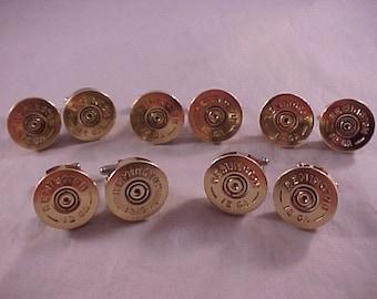 Shotgun Cufflinks / Wedding Cufflinks 5 Pair Set / Remington 12 Gauge Shotgun Cufflinks / Real Shotgun Shells / Groomsmen Gifts
