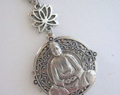 Buddha, Locket, Silver Locket Necklace,Lotus Necklace, Buddha Pendant, Buddha Necklace, Lotus Flower Necklace, Asian Jewelry, Antique Locket