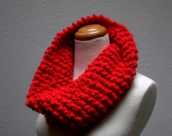 candy apple. handknit red cowl chunky knit neck warmer red mobious cowl vegan knitwear fall fashion winter accessories