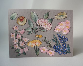 Flower Garden Original Hand Cut Vintage Wallpaper Note Card, Floral Romance, OOAK, Unique Applique Pattern, Texture, Victorian, Cottage Chic