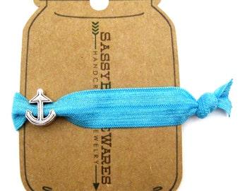 Anchor Knotted Elastic Hair Tie Bracelet No Crease Ponytail Holder in aqua blue nautical boating sailing beach summer ocean sea thick hair