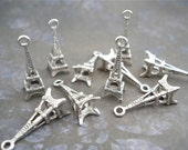 Silver Eiffel Tower Charms Pendants Antiqued 10