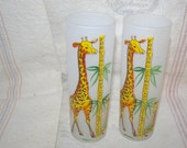 Vintage Frosted Tall Giraffe Bar Drinking Glasses