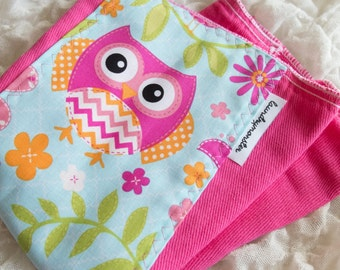 Baby burp cloth - hot pink and orange chevron owls hand dyed burp cloth