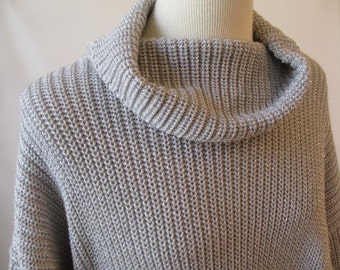 Vintage Neiman Marcus Silver Metallic Cowl Neck Sweater