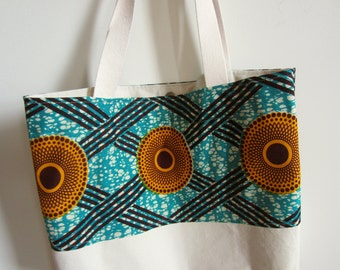 SALE - Beach Bag - Shopping Tote - Large Size - Cotton Canvas - African Wax Print