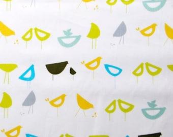 Monaluna, Organic Cotton Fabric, Little Birds, Blue, half- yard