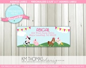 BARNYARD GIRL...Farm Girl Return Address Label...Printable Design...by KM Thomas Designs Item 115