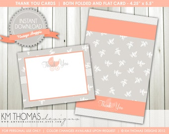 Vintage Buggy Thank You Cards: Baby Shower Thank You Notes - Baby Carriage - Flat & Folded Cards - INSTANT DOWNLOAD #188