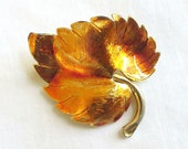 Vintage Gold and Browns Enameled Metal Leaf Brooch
