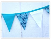 Snowflake Banner, Snow Queen Banner, Inspired by Frozen, Bunting, Teals, Gorgeous Snowflakes, Fabric Banner, Birthday Decor, Fabric Bunting