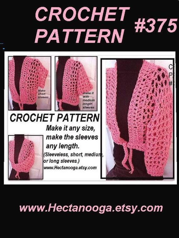 Crochet PATTERN num. 375.. Pink Mesh Shrug, make it any size, make it sleeveless, short, medium or long sleeves...