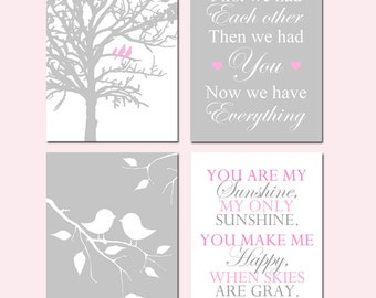 Baby Girl Nursery Art - Birds in a Tree, First We Had Each Other, Baby Birds on a Branch, You Are My Sunshine - Set of Four 11x14 Prints