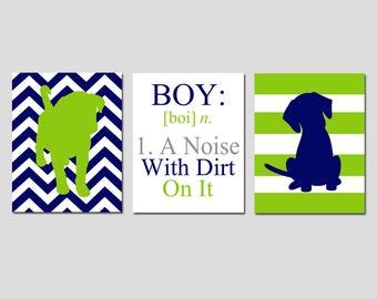 Baby Boy Nursery Art Trio - Chevron Stripe Puppy Dogs, Boy Definition - BOY A Noise With Dirt On It Quote- Set of Three 8x10 Prints