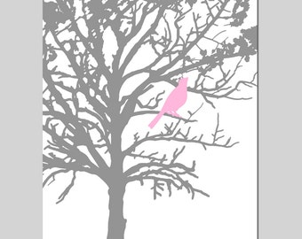 Nursery Decor Bird in a Tree - 11x14 Print - CHOOSE YOUR COLORS - Shown in Light Pink, Gray and White