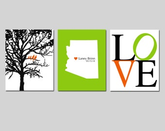 Custom Nursery Art Trio - Set of Three 8x10 Prints - LOVE, Family Tree Birds, State Birth Place Map