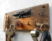 Key rack on reclaimed wood with note holder and vintage found objects
