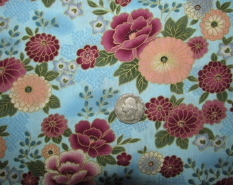 "Kona Bay Asian Oriental Floral Miyami Collection Aqua Rose Mauve Peach Blue Green Cotton Fabric 45"" wide BTY OOP"