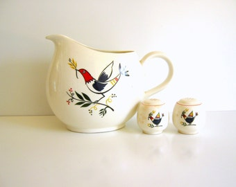 Vintage Homer Laughlin Water Pitcher Rhythm Pattern Farmer and Wife Matching Salt and Pepper Shakers