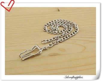 34.5 cm silver key chain pocket watch chain fob K67