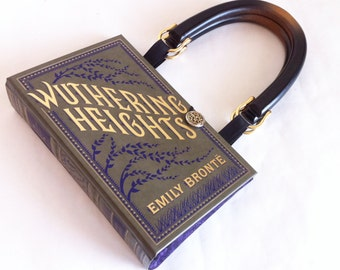 Wuthering Heights Book Purse - Emily Bronte Recycled Book Clutch - Leather bound Book Cover Handbag - Bookish Wedding Theme Pocketbook