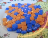 Itty Bitty Pretty Mini Stained Glass Pieces Glass Mosaic Tile Orange and Brilliant Blue Mix 8mm Square