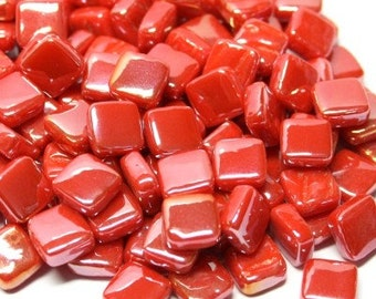 Itty Bitty Pretty Mini Red Pearl Stained Glass Pieces Glass Mosaic Tiles METALLIC Red  8mm Square