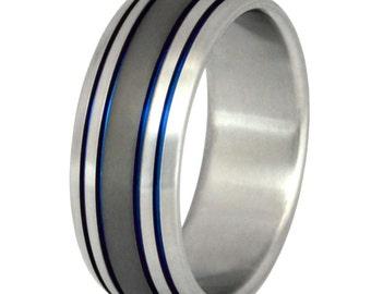 Titanium Wedding Band - Thin Blue Line Ring - Unique Wedding Ring - sa13