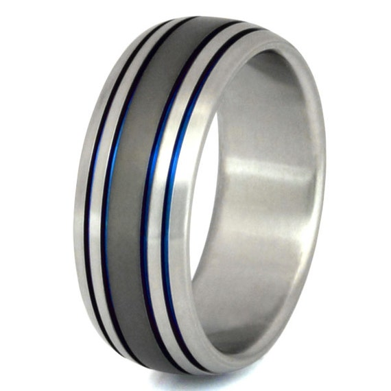 Titanium Wedding Band Thin Blue Line Ring Unique Wedding