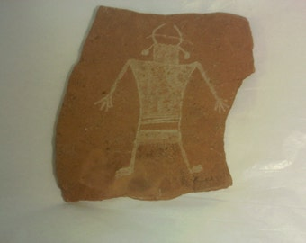 FREE SHIPPING petroglyph pictograph art pottery (Vault 18)