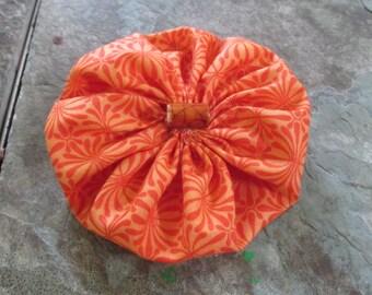 Orange Yoyo Barrette with Orange Glass Tube Center