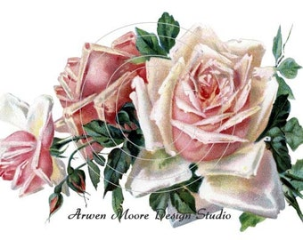 Beautiful Vintage Chic Shabby Two Pink Roses Spray Waterslide Water Slide Iron On Transfer Miniature Decals ro-167