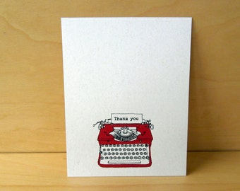 "Typewriter Cards - Set  of 12 ""Thank You"" Stationery - Recycled Noteflat cards"