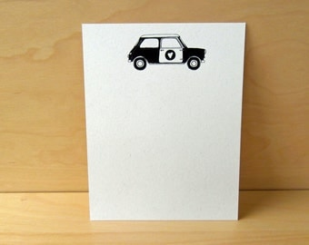 Mini Cooper - set of 12 noteflat cards - recycled stationery