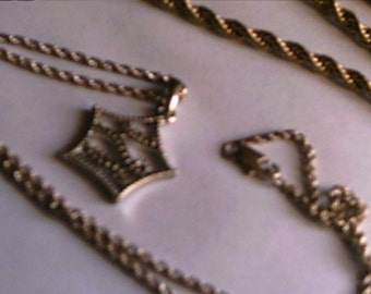Two Vintage Silver Rope Chain Necklaces Star Pendant Nice Quality