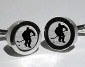 Ice Hockey Silver Leaf Men's Cufflinks/Hockey team/Hockey League/National Hockey League/NFL teams/Valentines Gift/Gift for men