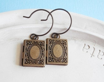 Brass Book Earrings - Book Worm - Book Locket - Librarian Teacher Gift