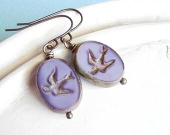 Beaded Earrings - Sparrow in Flight - Pressed Czech Glass Earrings - Lavender