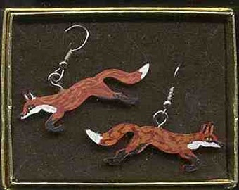 Wooden RED FOX RUNNING Hand-painted Frenchwire Earrings