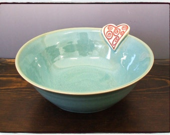 Turquoise Bowl with Heart Decoration by misunrie