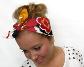 Dolly Bow Tie On Headband, Rockabilly Hair Accessories in Large Red Black and Mustard Floral, Vintage Inspired Hair Wrap