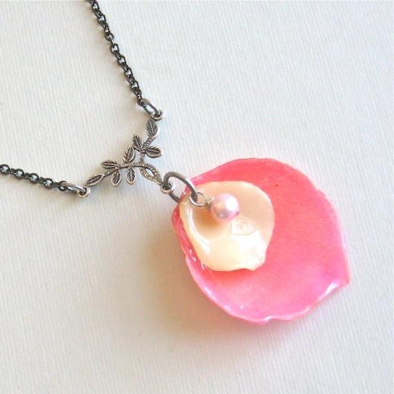 Dried Rose Petal Necklace