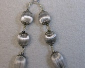 Vintage Japanese Silver Grey Silk Fiber Triple Bead Long Dangle Earrings, Pewter Findings