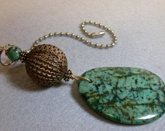 Vintage Blue Green Jasper Stone Pendant Light Fan, Vintage African Turquoise Bead,Vintage Pakistani Brass Tea Strainer Bead
