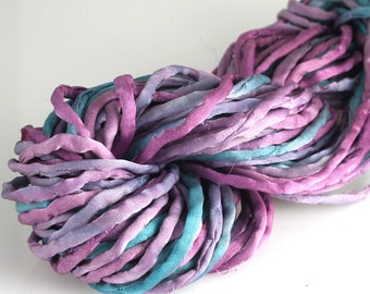 5 meters Hand Dyed Silk Cord Cool Colors Blue Purple Orchid