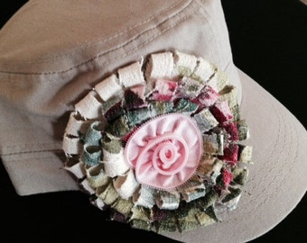 Military Cadet Hand Made Flower Cap Made with vintage Bark Cloth and Tiny Zipper