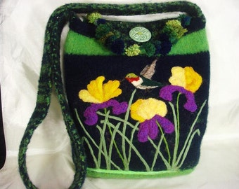 Felted Purse, Felted Tote, Felted Handbag, Royal Irises, Hummingbird, Felted Tote