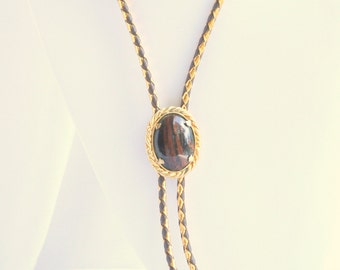 Striped Brown Agate Bolo Tie Vintage Southwestern Rock Slice Gold Brown Leather Cord Bola Necktie