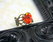 Fall's Fire Tangerine Swarovski Elements Brass Ring Sparkling, Bold Saturated in Color